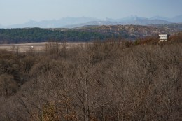 A watch tower within the buffer zone in the distance.